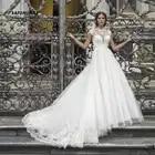 SATONOAKI Hoge Hals Kant Trouwjurken Cap Sleeve Sheer Hals EEN Lijn Bruidsjurken Geappliceerd Vintage Bridal Jurken - 1