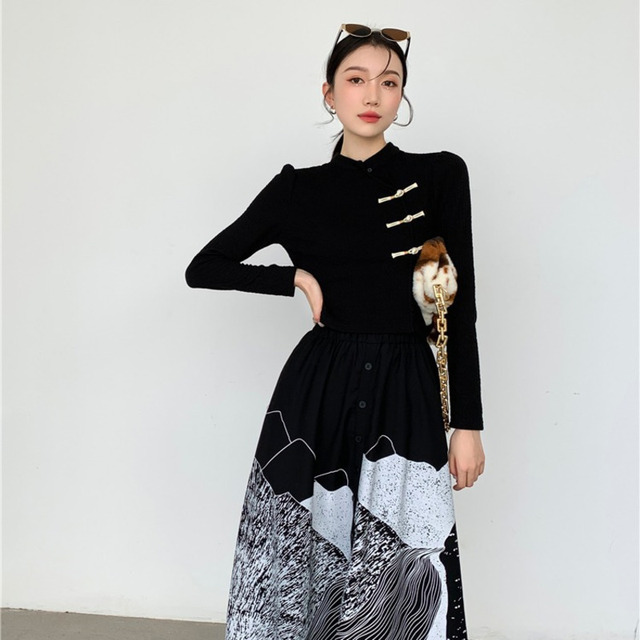 DEAT Woman Suit Black Buckle Stand Collar Long Sleeve Fit Tops + Print Elastic Waist Skirt Vintage Style 2021 New Autumn 15XF734 2