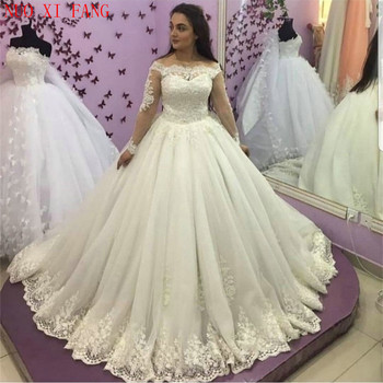 Princess White Ivory Wedding Dress Long Sleeve Applique Lace Wedding Bridal Gown Off The Shoulder Puffy Ball Dress suknia slubna lace applique lantern sleeve cold shoulder top