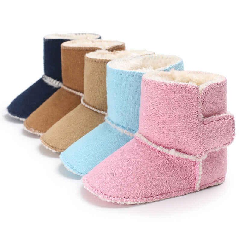 Novo bebê meninas meninos botas de neve inverno quente macio babt sapatos anti-deslizamento doce cor de pelúcia prewalk booties 0-18 m