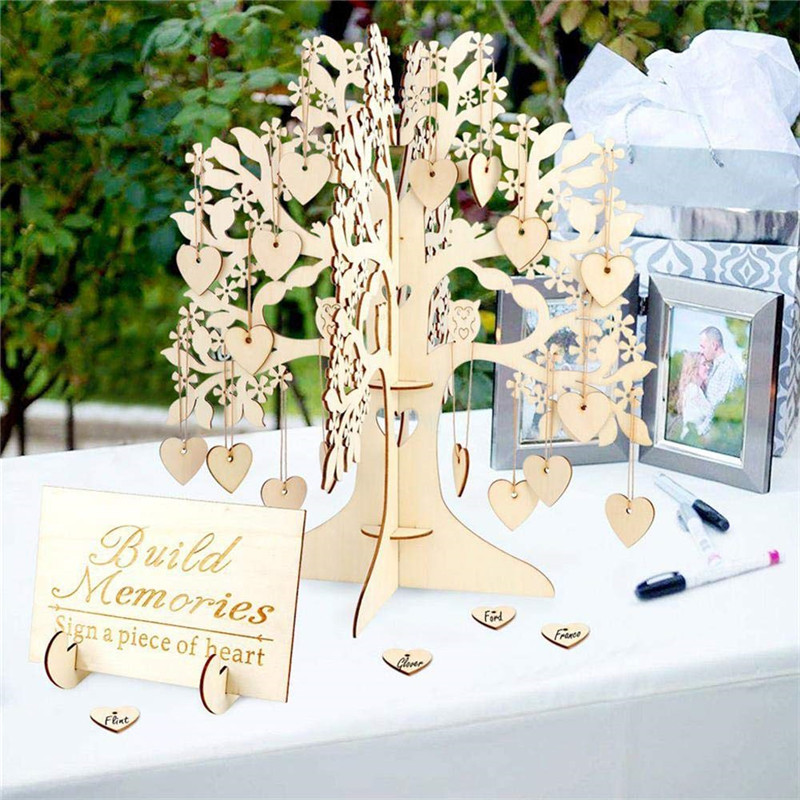 Wedding Guest Book Wishing Tree 3D Signature Book Wooden Hearts Pendant Drop Ornaments Party Decoration Wedding Gifts Drop Ship