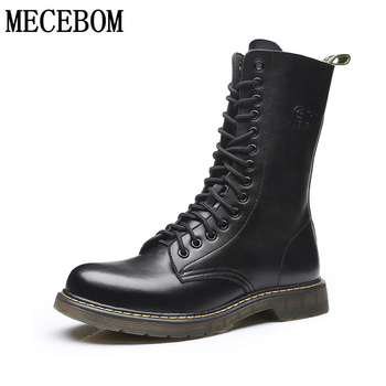 Men's Motorcycle Boots Leather High Quality Cow Leather Large Size 38-48 Men's Boots Plush Warmth Increase Fashion Men's Shoes