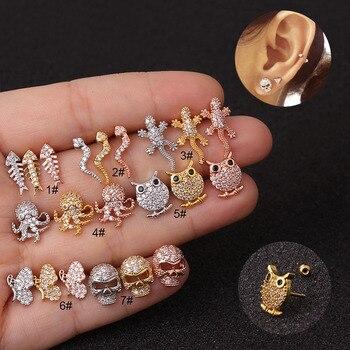 1 PCS New CZ Zircon Snake Owl Skull Ear Stud Cuff Earring for Women Trendy Stainless.jpg 350x350 - 1 PCS New CZ Zircon Snake Owl Skull Ear Stud Cuff Earring for Women Trendy Stainless Steel Bar Ball Screw Earrings Ear Jewelry