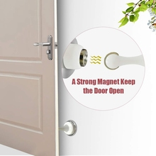 Door Stopper, 2 Pack Magnetic Door Stop White, Stainless Steel Door Catch, Double-Sided Self Adhesive Tape, Door Holder Doorstop