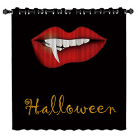 Halloween Red Lips Room Curtains Large Window Window Curtains Dark Living Room Blackout Drapes Decor Curtain Panels With Grommet
