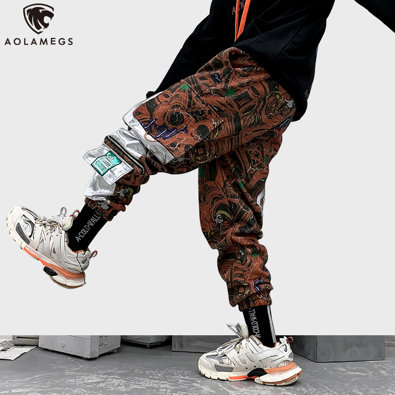 Aolamegs Sweatpants Fashion Print Men Trouser Elastic Waist High Street Multi-Pocket Cargo Style Cool Joggers Fashion Streetwear