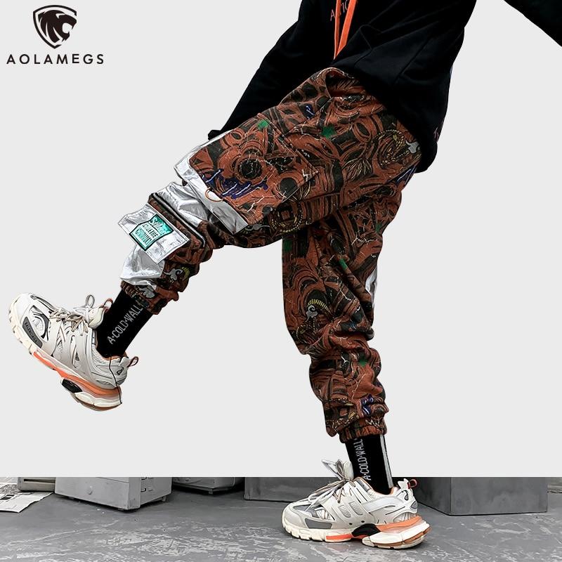 Aolamegs Sweatpants Fashion Print Men Trouser Elastic Waist High Street Multi-Pocket Cargo Style Cool Joggers Fashion Streetwear