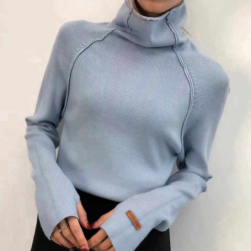 High Quality Turtleneck Sweater Women Pullover Autumn Winter Solid Knitted Sweater Casual Female White Oversized Sweater