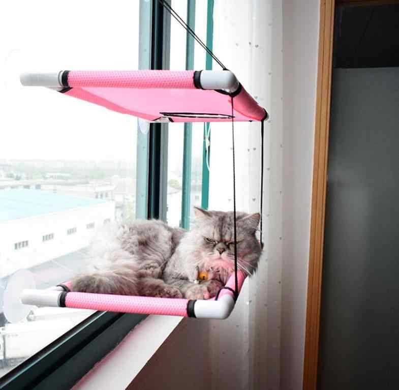 Hamaca doble para gatos, hamaca para gatos, ventana, plataforma de salto para gatos, ventosa, cama cálida para mascotas