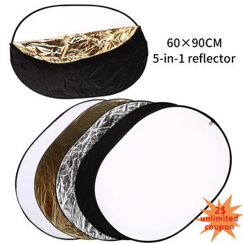 60*90cm 5 w 1 Multi eliptyczny odbłyśnik składany wielopłytowy odbłyśnik do studia lub dowolnej sytuacji fotograficznej tanie i dobre opinie GSYXERGILES CN (pochodzenie) ROUND 370g Reflector 5 in 1 Round Reflector Photo Accessories