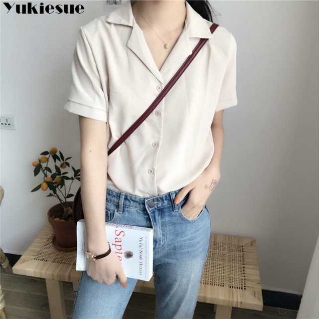 Casual Solid Female Shirts Outwear Tops 2020 summer short sleeve  Women Chiffon Blouse Office Lady V-neck Button Loose Clothing 6