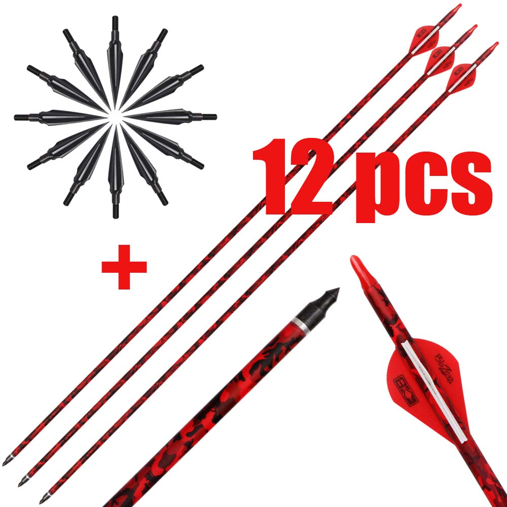 6/12 Pcs 32 Inch Red Carbon Arrows With Blazer Vanes With Field Points For Recurve Compound Bow Targeting Or Hunting
