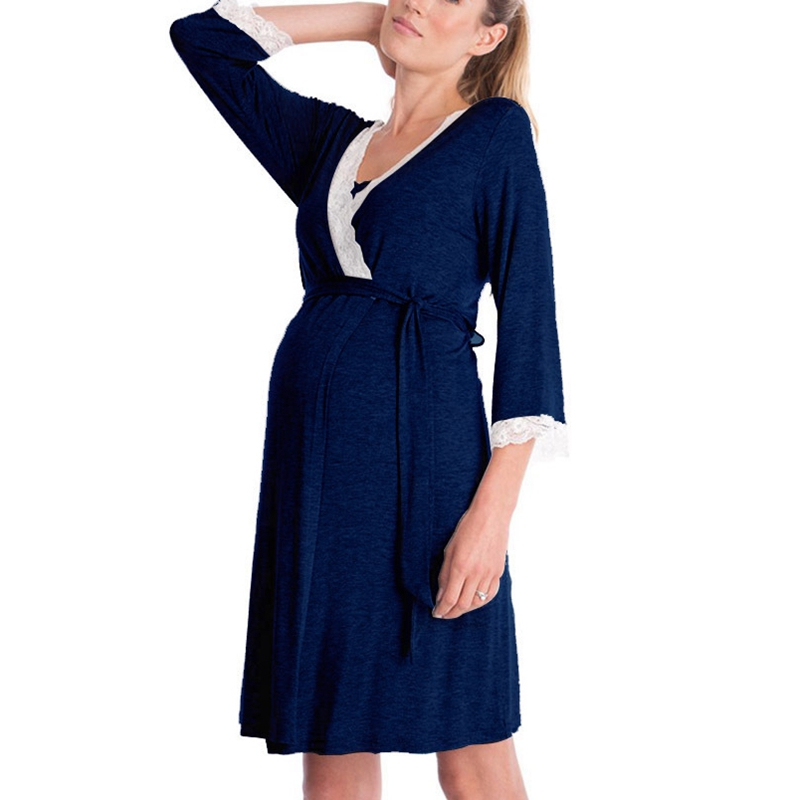 Women Dress for Pregnant Women Mother Lace Pregnant Long Sleeve Nursing Baby for Maternity Pajamas Dress Navy Blue L