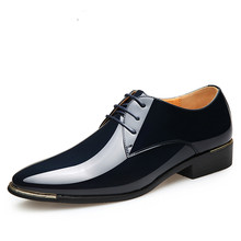 цены 2020 Plus Size 38-48 Patent Leather Men's Dress Shoes For Wedding Party Shoes For Man White Black Fashion Oxfords Shoes Men