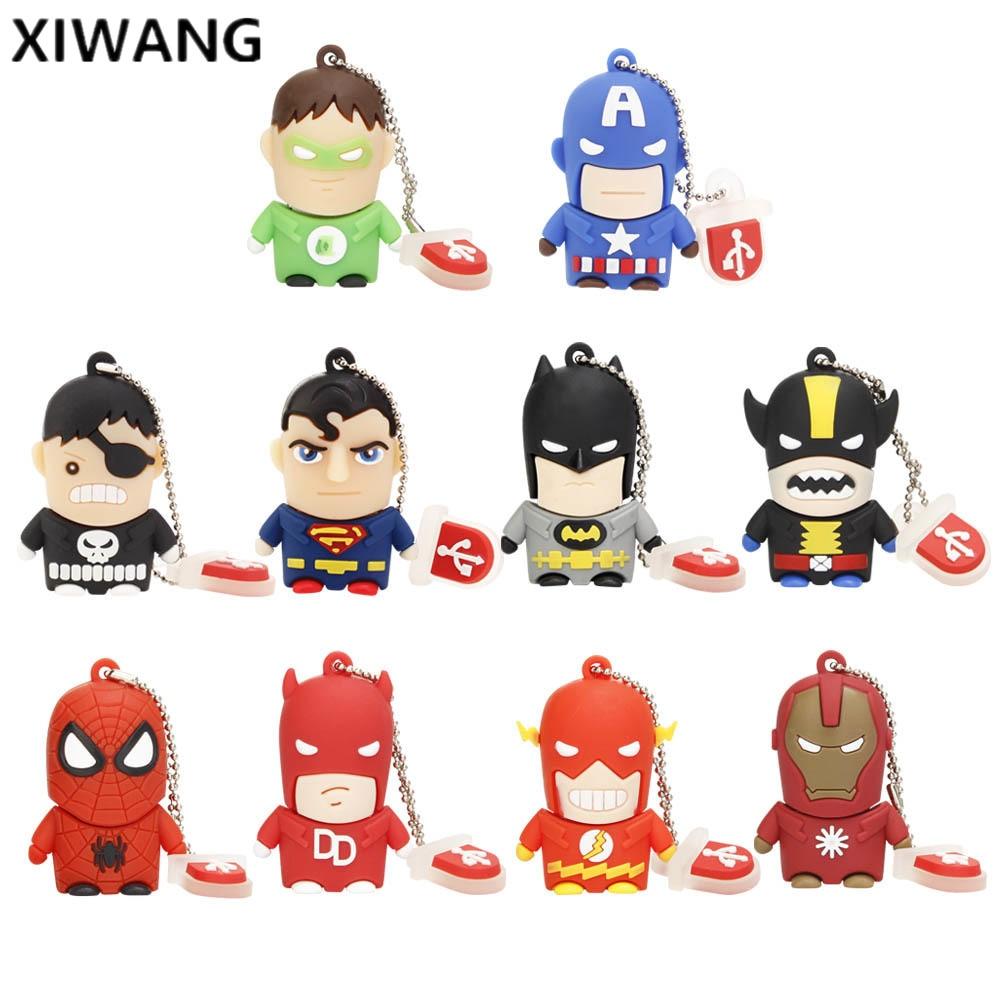 Usb Flash Drive Cartoon Flash Memory Usb 2.0 Superhero Avengers Batman Spiderman Pendrive 4gb 8gb 16gb 32gb 64gb 128GB Best Gift
