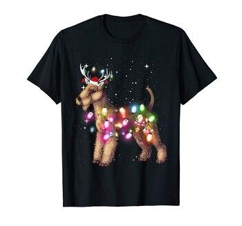 Luces de Navidad Lakeland Terrier perro T-Shirt-Camiseta de los hombres-Negro