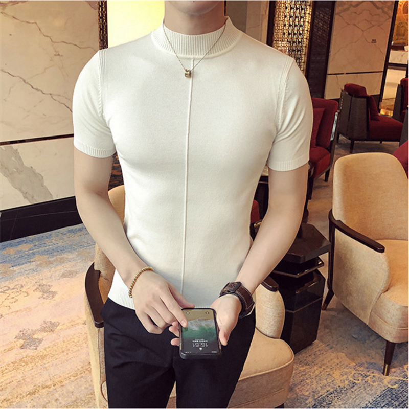 Fall Men Knit T-Shirt Slim Half-High Collar Short Sleeve Sweater Men's Pure Color Pullover Hombre Slim Fit Fashion Men's T-Shirt