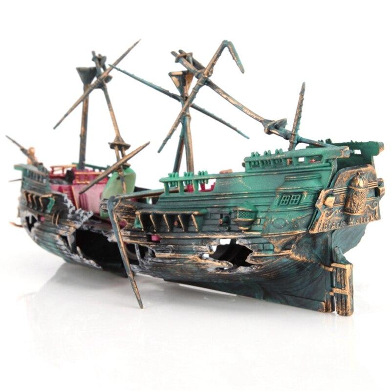 Large Aquarium Decoration Boat Plactic Aquarium Ship Air Split Shipwreck Fish Tank Decor C