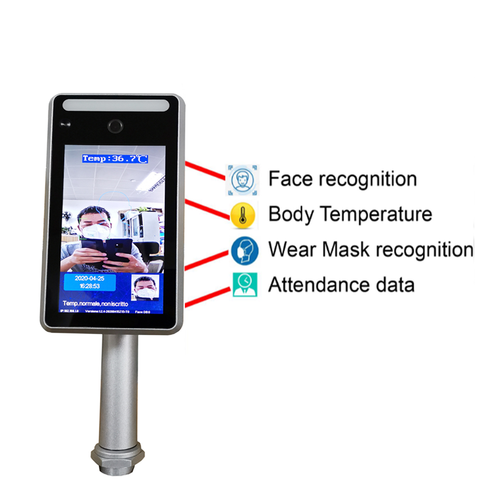 Body Temperature Camera Thermo Face Recognition Detector Access Control Non-contact Fever Imager Thermal Camera With Voice Alarm
