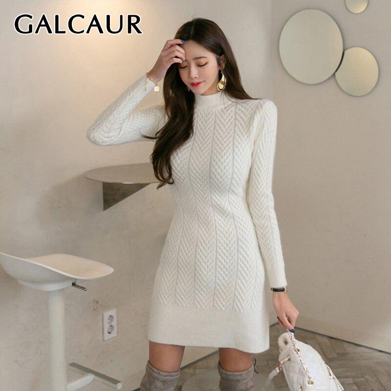 GALCAUR Minimalist White Korean Dresses Female Long Sleeve Turtleneck High Waist Elegant Dress For Women Autumn Fashion New 2019