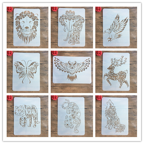 New A4 29 * 21cm Many Creative Animal DIY Stencils Wall Painting Scrapbook Coloring Photo Album Decorative Paper Card Template