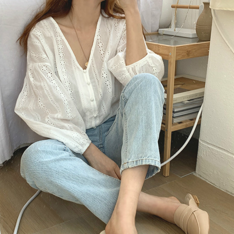 Women Summer White Vintage Cotton Hollow Hook Flower Blouse Breathable Shirt V Neck Lantern Sleeve Solid Color Top