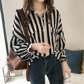 Women Plus Size Top and Blouse Fashion Striped Long Sleeve Shirt Casual Loose Turn-down Collar Summer/autumn Clothing SMWSH6 cotton long shirt fashion plaid turn down collar full sleeve office lady autumn women blouse plus size casual blusas student top