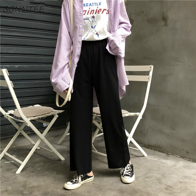 Pants Women Spring Korean Style Girls Soft Capris Chic Womens Loose Elastic Trousers Leisure All-match 2020 Female Pant Students