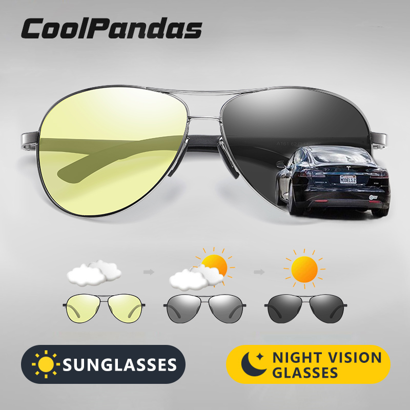 2020 Aviation Driving Photochromic Sunglasses Men Polarized Glasses Women Day Night Vision Driver Eyewear UV400 zonnebril heren 2