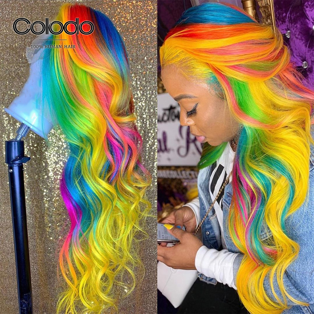 COLODO 24 Inch Amazing Rainbow Color Lace Front Human Hair Wigs Pre Plucked Brazilian Remy Transparent Lace Wigs For Women