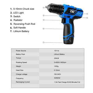 Image 2 - 12V Electric Cordless Screwdriver Drill 100NM Torque Electric Drilling Machine Mini Hand Drill Wireless Power Tool by PROSTORMER