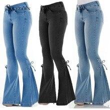 Women Stretch Bandage Flare Jeans Fashion Mid Waist Office