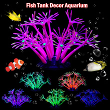 Aquarium Silicone Glowing Fish Tank Artificial Coral Plant Ornament Underwater Luminous Aquatic Landscape D40