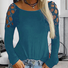 Casual Crew Neck Womens Tunic Plus SIze Hollow Out Female Tops Tshirts Solid Loose Long Sleeve Womens T-shirt Spring Autumn 2020