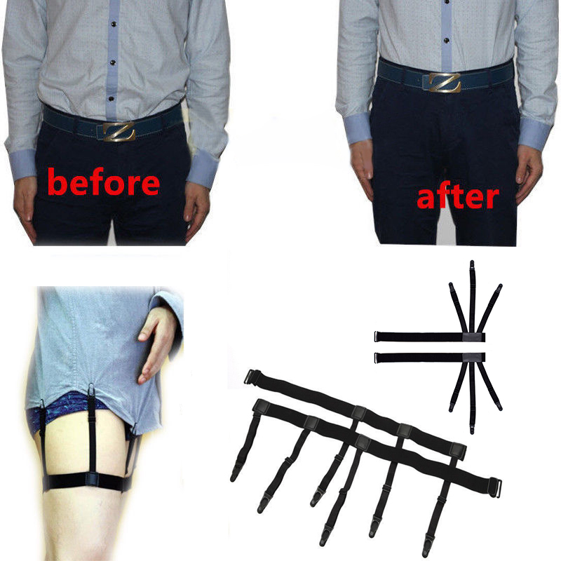 Men Shirt Stays Belt With Non-slip Locking Clips Keep Shirt Tucked Locking Clamps Braces Leg Thigh Suspender Garters Strap