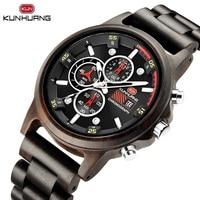 Casual Natural Black Ebony Wood Men Quartz Watch 6 Hands Date Stopwatch Soft Wooden Belt Strap Fashion Sport Hodinky Clock Gift