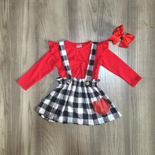 Bebê meninas roupas de algodão halter dia dos namorados botão cinta suspender saia conjunto xadrez boutique plissado jogo arco joelho comprimento