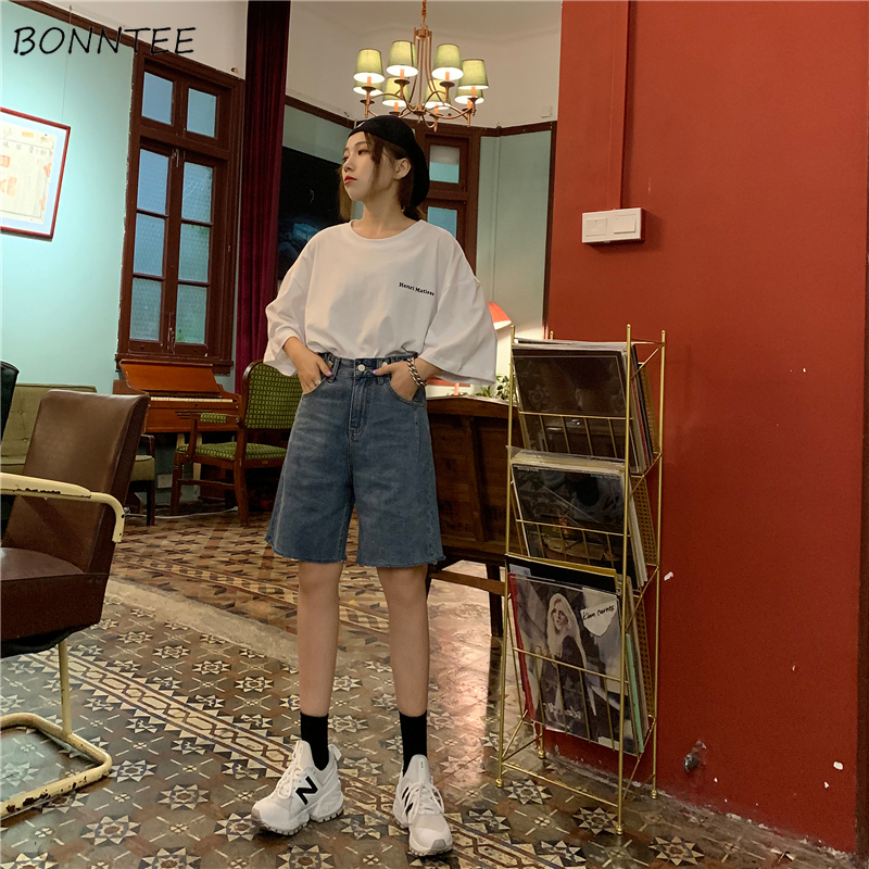 Shorts Women Korean Style Summer Trendy Simple Denim Streetwear High Quality All-match Ulzzang Loose Solid Casual Womens  Jeans
