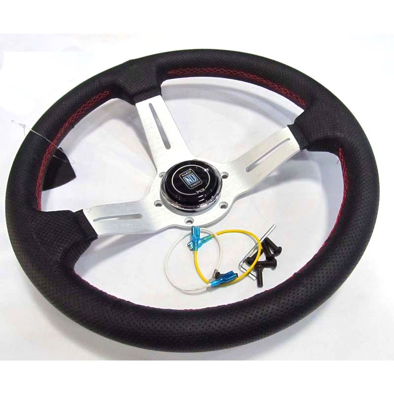 Design de sport course couleur argent | 330mm 13 pouces, rayons en cuir réel ND Tuning dérive volant de course