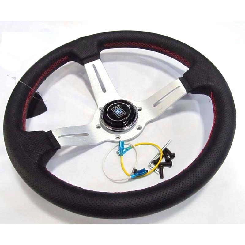Racing sport design 330mm 13 zoll silber farbe speichen deep dish echt leder ND Tuning Driften racing lenkrad