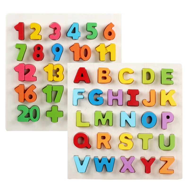Alphabet Puzzle Wooden Uppercase Letters Abc And Digital Learning Block Board Toys Preschool Preschool 2 Years Old Above 2 Packs Card Games Aliexpress