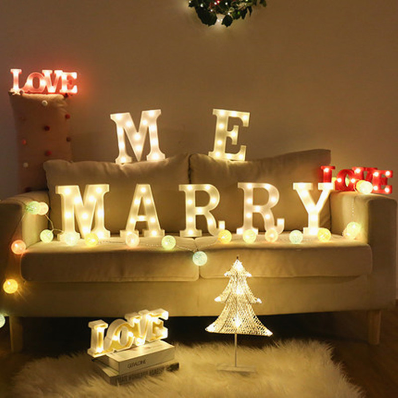 LED Letter Night Light Light LOVE Valentine's Day Alphabet Battery Home Culb Wall Decoration Party Wedding Birthday Decor Gift