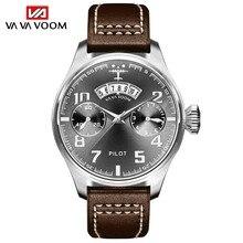 Часы наручные мужские кварцевые с хронографом, люксовые спортивные водонепроницаемые аналоговые, с кожаным ремешком, с датой