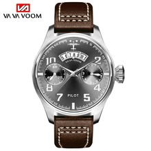 Luxury Mens หนังกีฬานาฬิกาข้อมือกันน้ำวันที่ควอตซ์แบบอะนาล็อกนาฬิกาผู้ชาย Chronograph Pilot นาฬิกา zegarki damskie