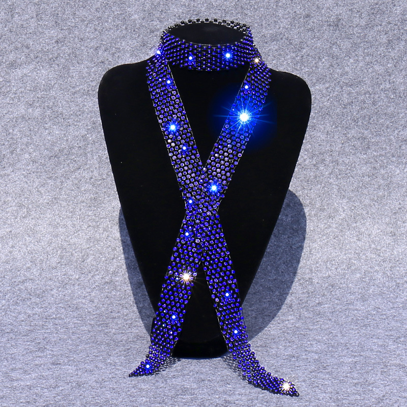 Shiny Rhinestones Ties Men Women New Fashion Sequins Party Night Club Bar Simple Style High Quality Accessories Handmade Ties