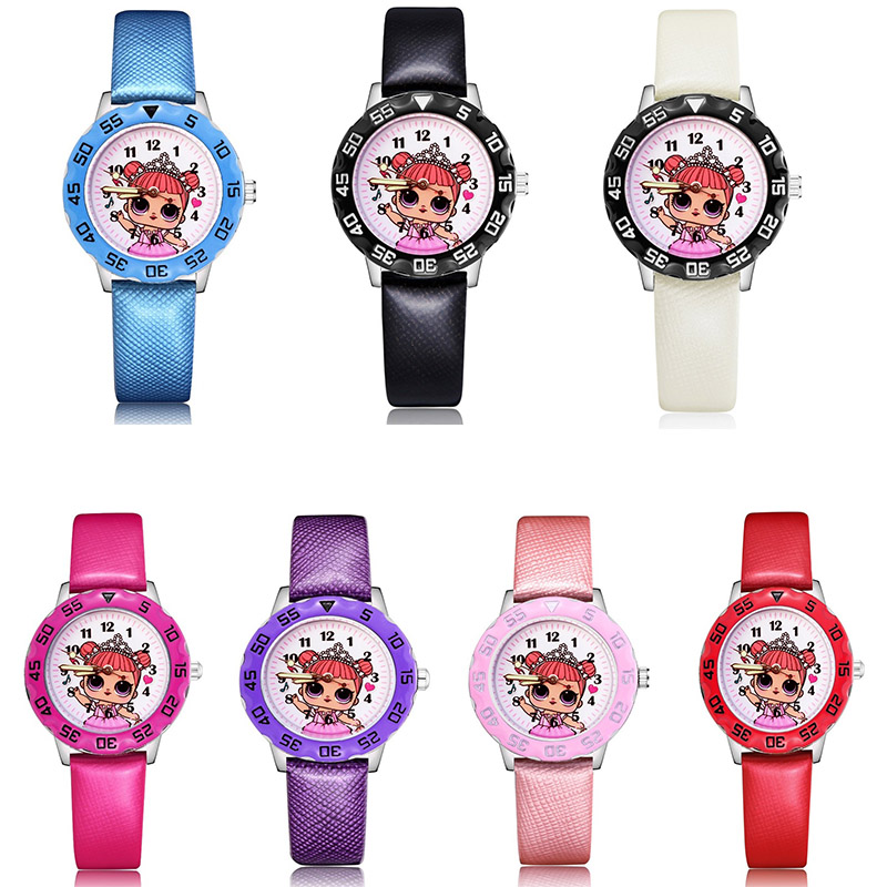 High Quality Fashion Genuine LOl Children's Watches Kids Student Leather Wrist Watch Girl's Boy Birthday Gif