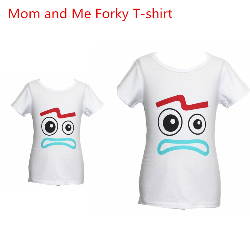 Family Matching Forky T-Shirt Halloween Toy Story 4 Boys Girls Men Women Dad Mother T-Shirt Kid Soft Cosplay Boys T-shirt