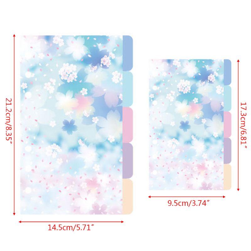 1Set Cherry Blossom A5 A6 Loose Leaf Notebook Divider Index Separator Binders 63HD