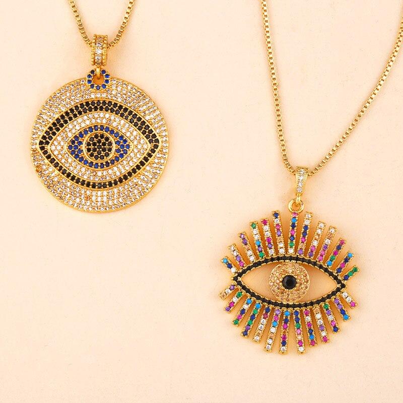 Радужное циркониевое ожерелье, подвеска в виде волшебного глаза, сетка красного цвета, циркониевая короткая цепочка на свитер, подвеска, Женские Ювелирные аксессуары