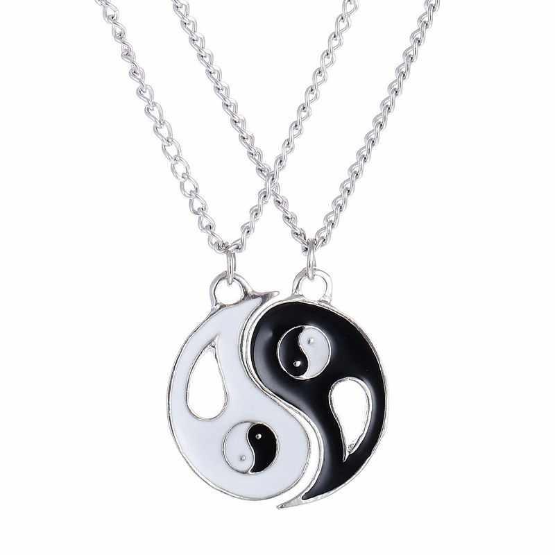 Модные ожерелья восемь диаграм черный и белый Инь Ян кулон для пары любовник лучшая вышивка крестиком для женщин унисекс